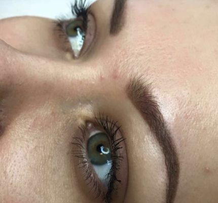 Female with ombre powder brows