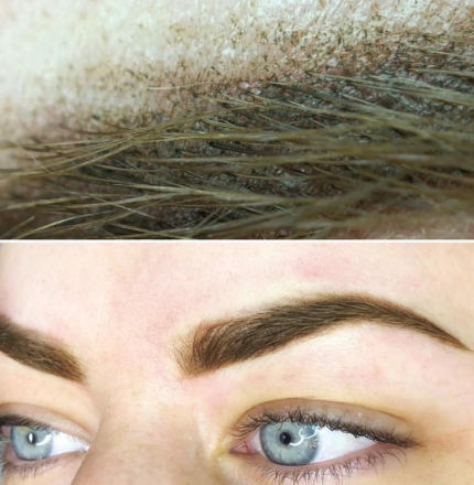 Two sets of pictures where one has a closeup of an ombre powder eyebrow and the other a distant shot